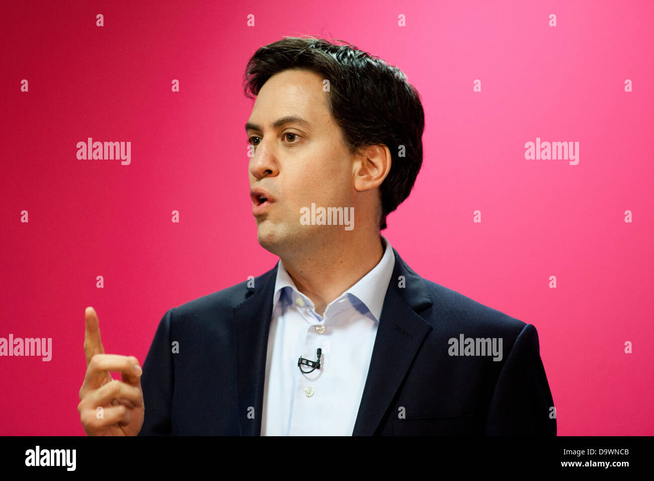 Labour leader Ed Miliband giving his Keynote speech at The Labour Policy Forum Meeting in Birmingham. - Stock Image