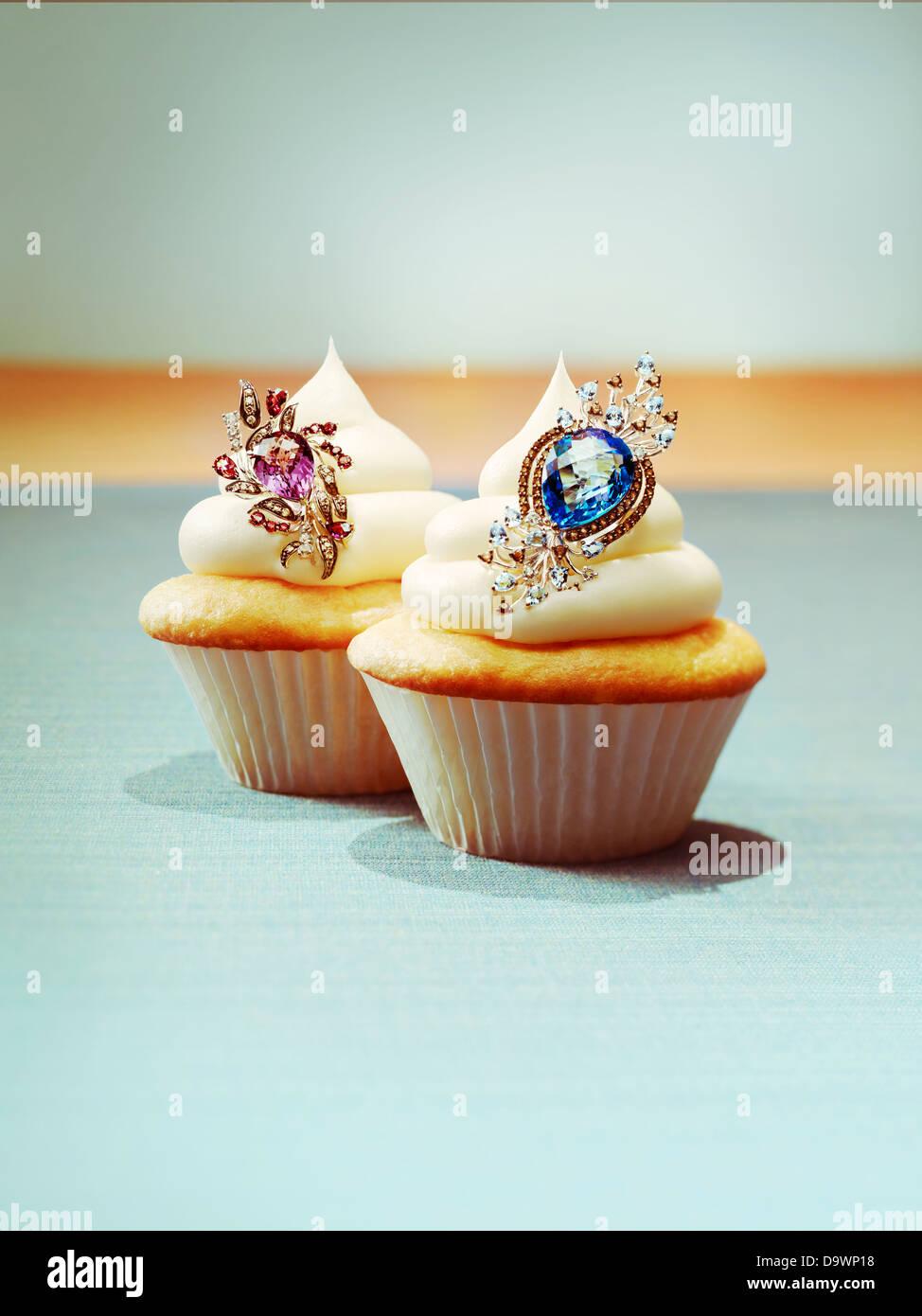 Cupcakes with jewelry Stock Photo