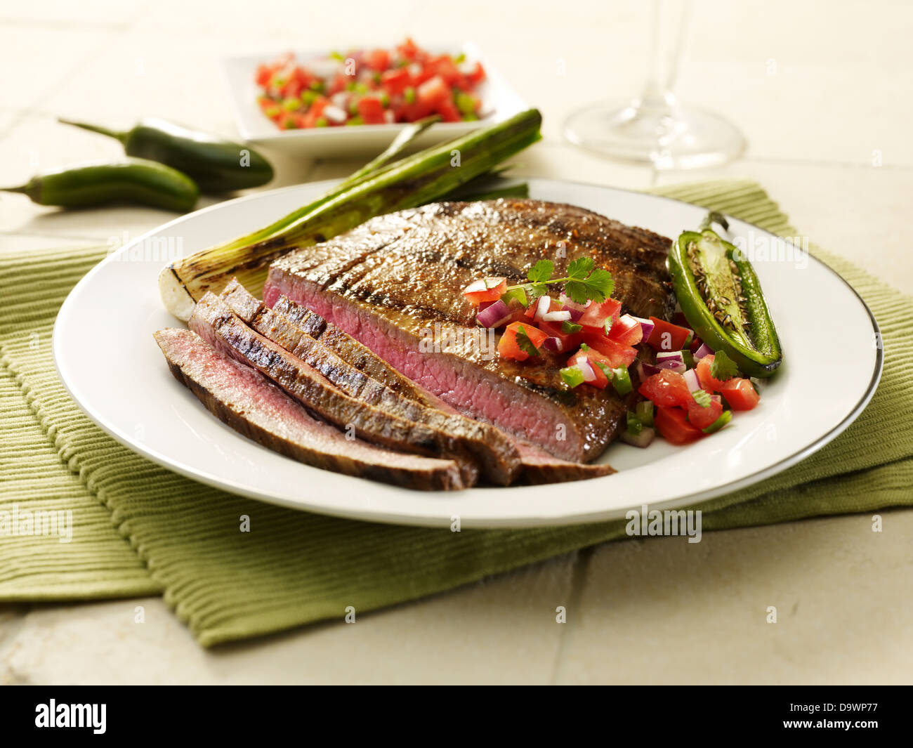 flank steak cut - Stock Image