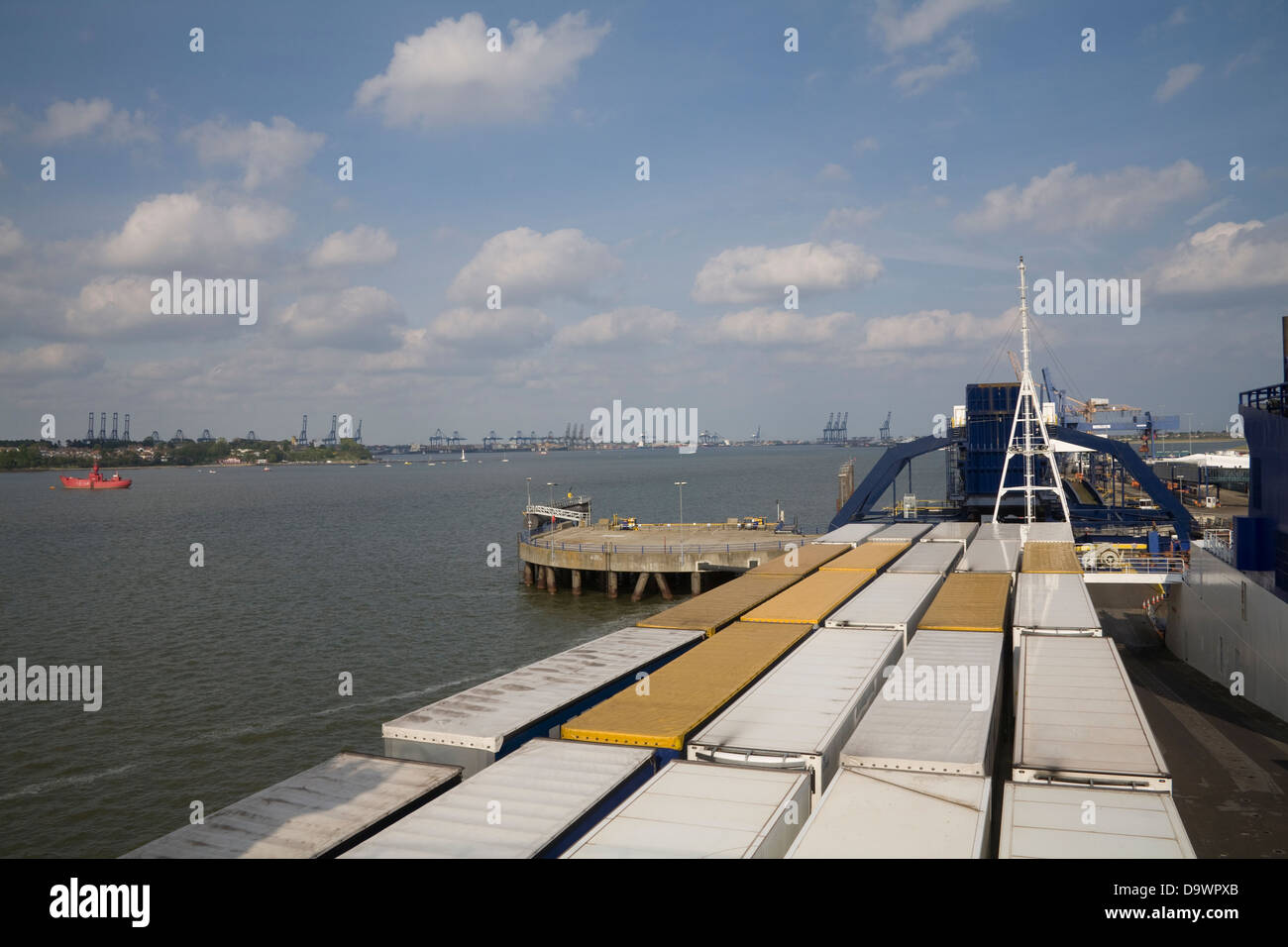 Harwich Essex South East England Looking down on lorries loaded on DFDS Sirena Seaways ferry to Denmark - Stock Image