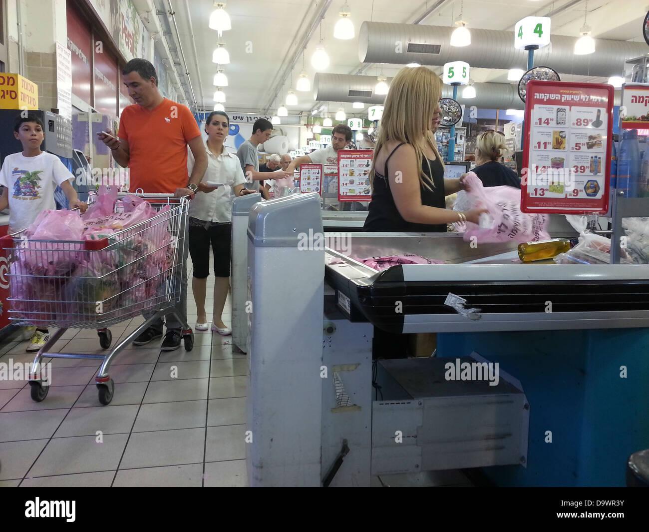 Interior of the Rami Levy Supermarket, Nesher, Haifa, Israel - Stock Image