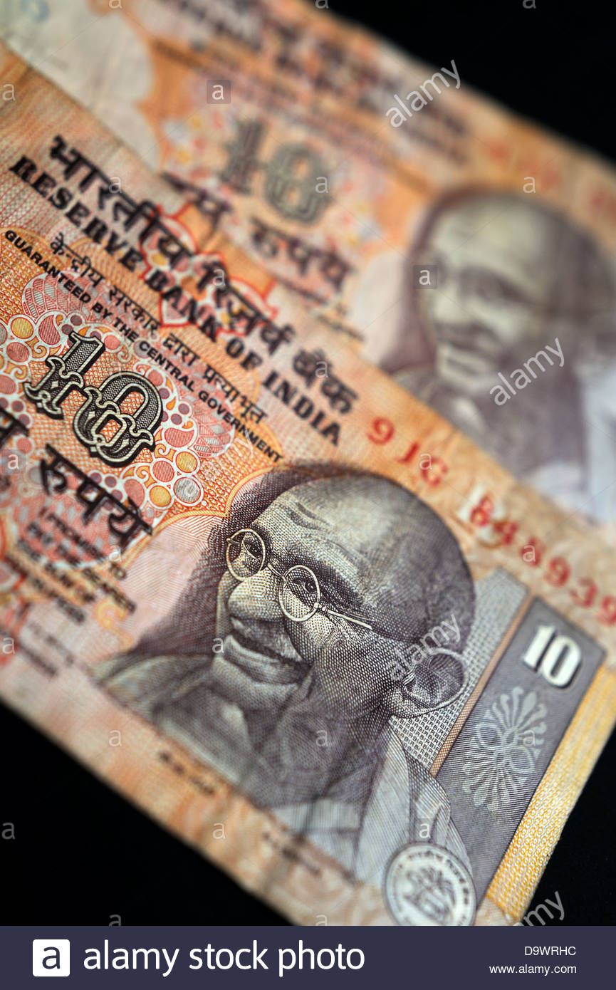 Indian rupee bank notes. - Stock Image