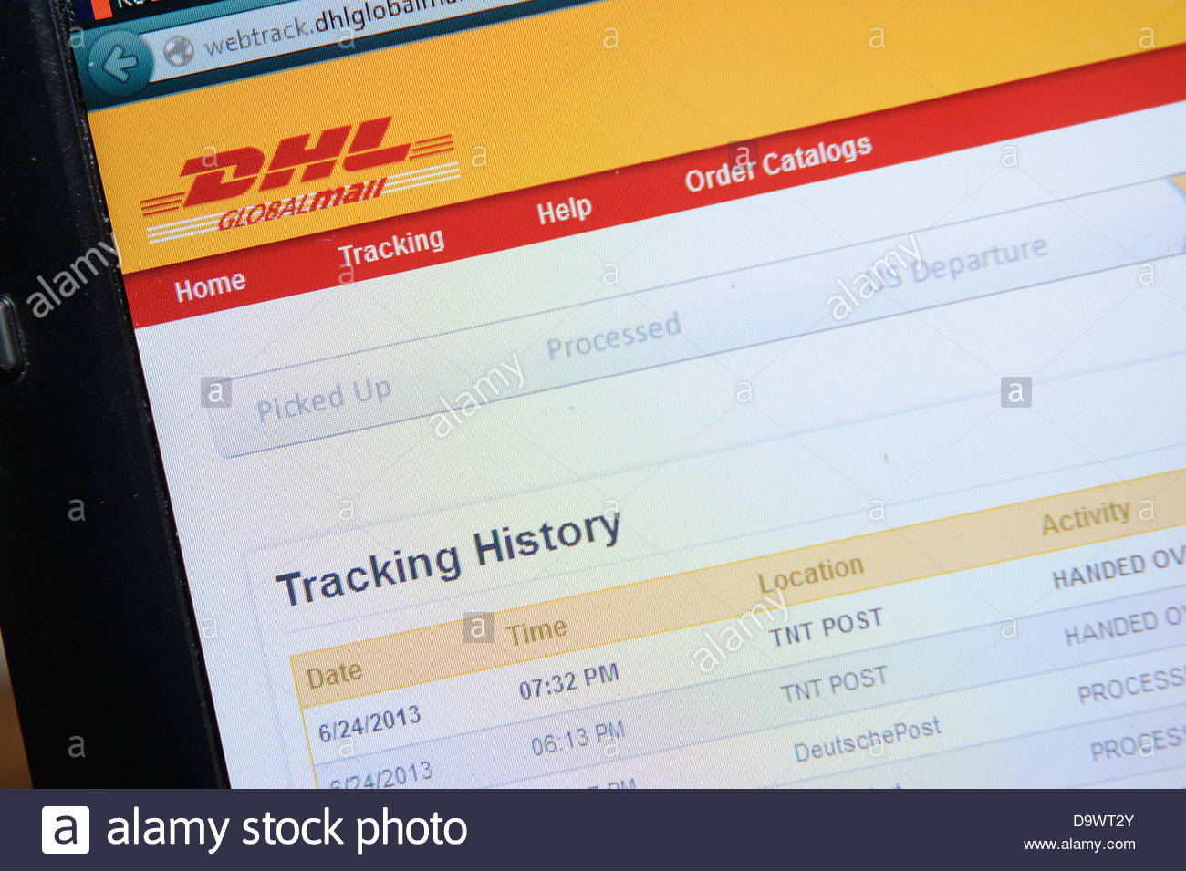 DHL on line parcel tracking - Stock Image
