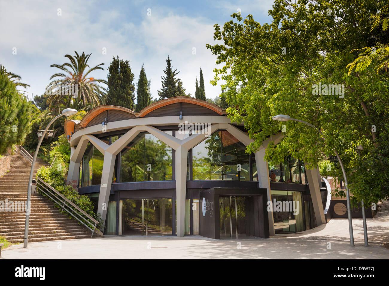 Esferic building in Parc de Montjuic Barcelona - Stock Image