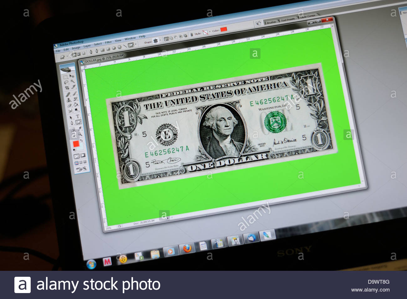 US dollar on photoshop, according to many, not possible. - Stock Image