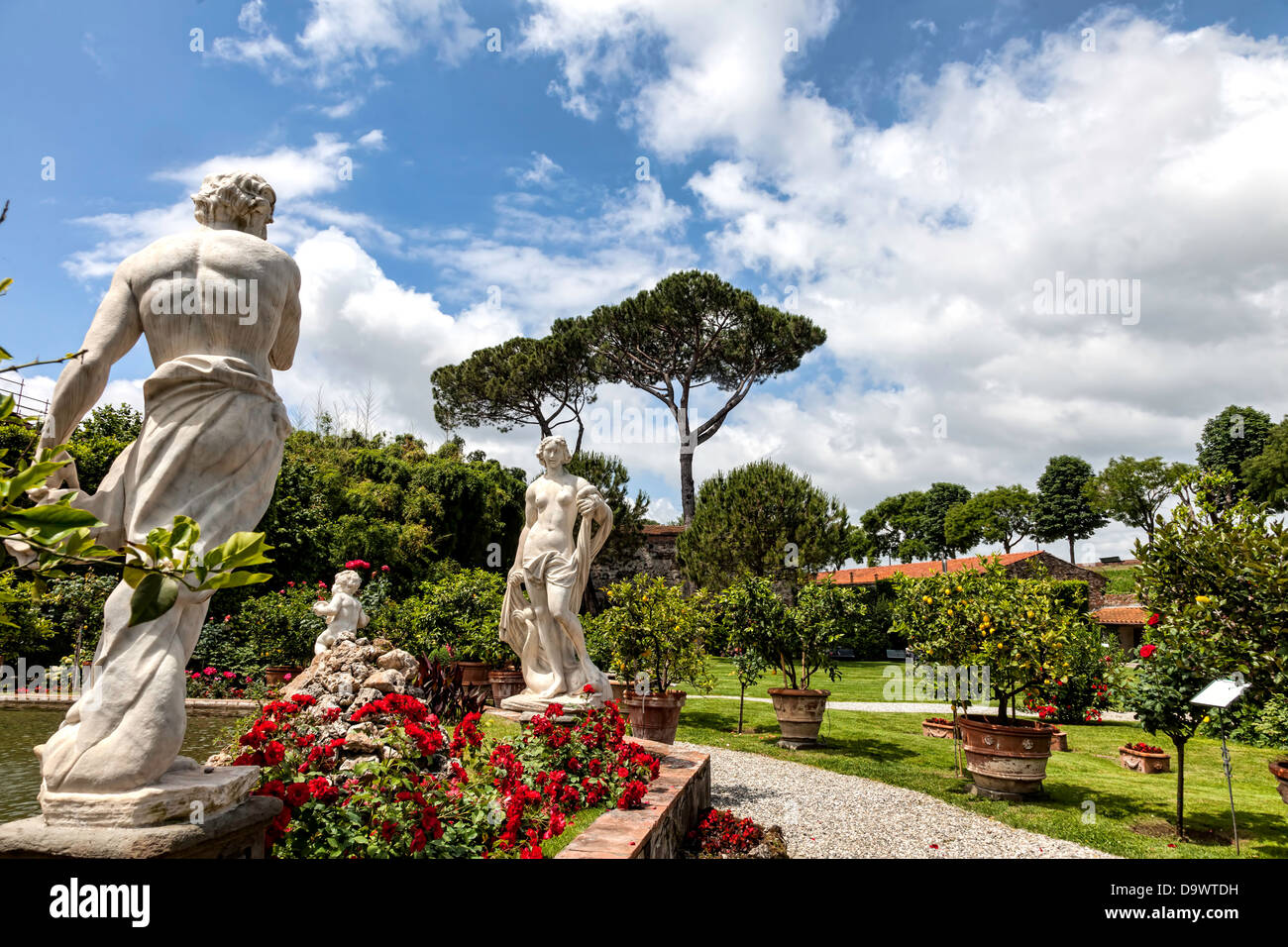 Palazzo Pfanner gardens in Lucca, Tuscany - Stock Image