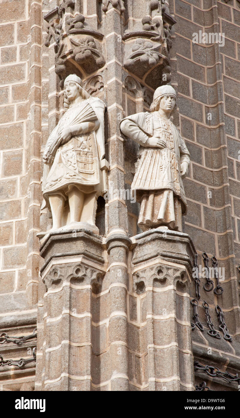 TOLEDO - MARCH 8: Statues from East facade of Monasterio San Juan de los Reyes - Stock Image