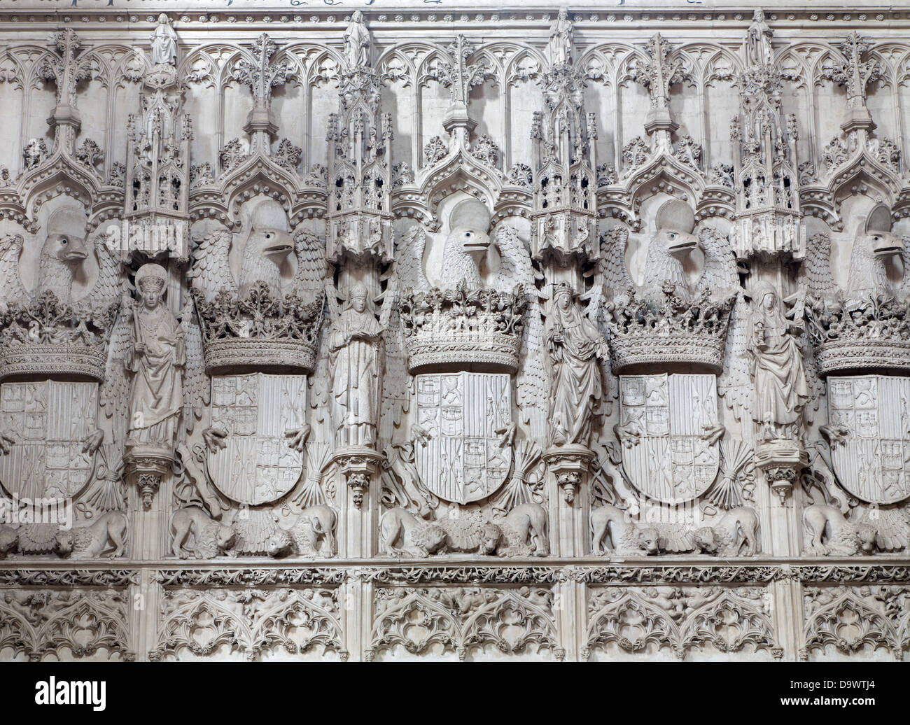 TOLEDO - MARCH 8: Detail of gothic interior of Monasterio San Juan de los Reyes or Monastery of Saint John of the - Stock Image