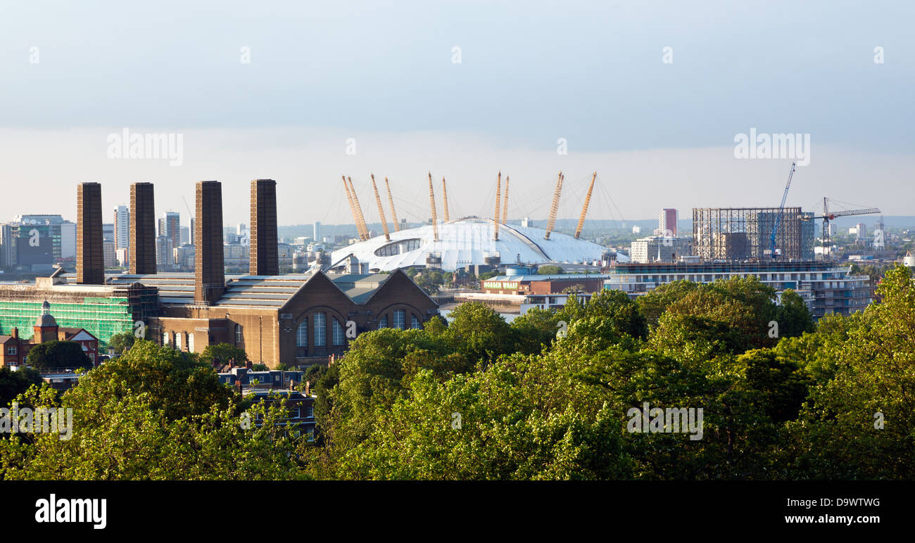 The 02 Millennium Dome From Greenwich Park London UK - Stock Image