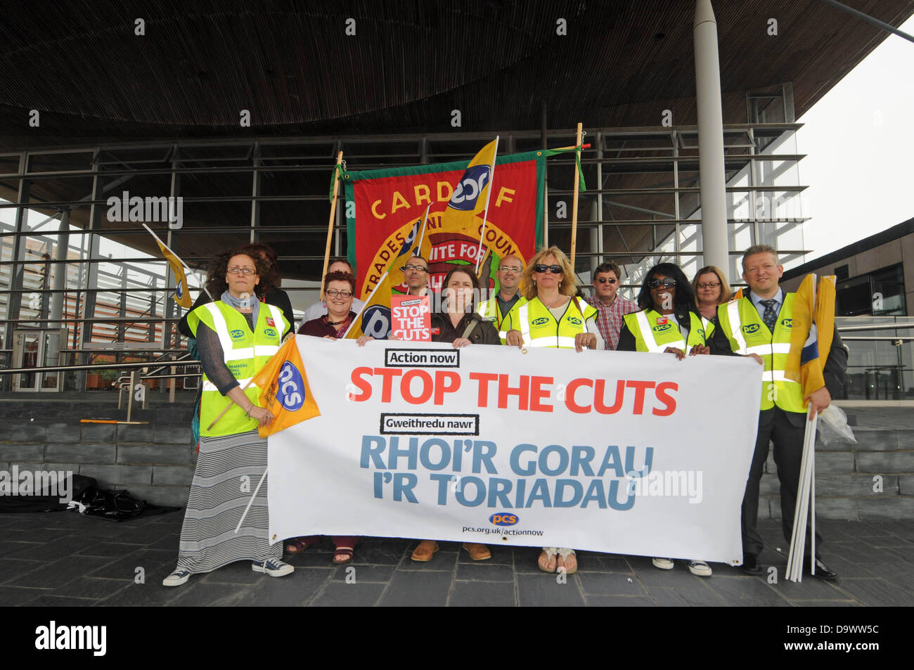 Cardiff - UK - 27th June 2013 - Members of the PCS Union protesting against the Government cuts outside the Senydd - Stock Image