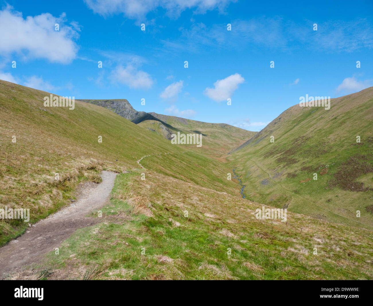 View along the River Glenderamackin valley to the rocky upthrusts of Sharp Edge & Foule Crag on Blencathra, a Lake District fell Stock Photo