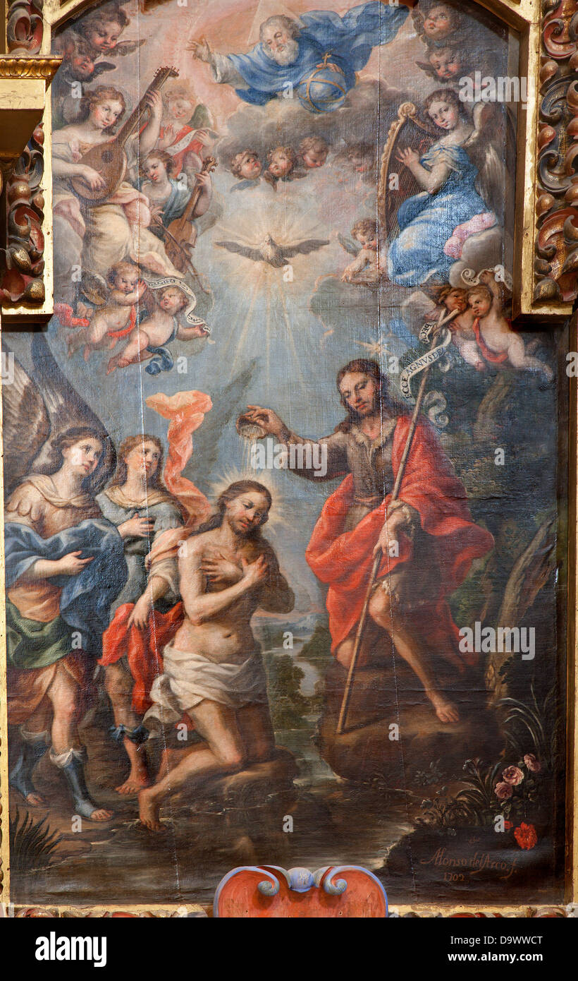 TOLEDO - MARCH 8: Baptism of Christ paint from church Iglesia de san Idefonso by Alonso del Arco - Stock Image