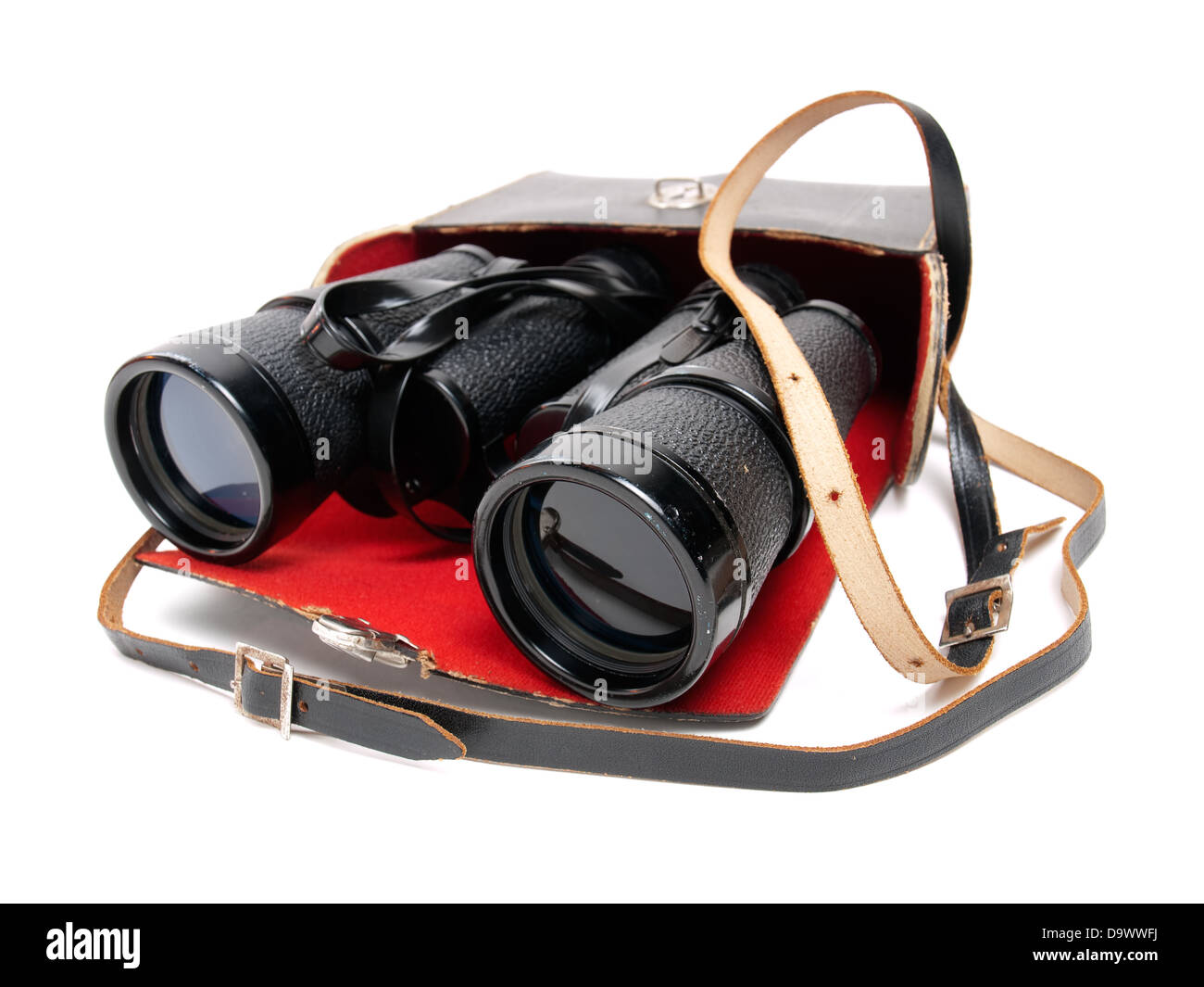 Retro binoculars in a bag on a white background. - Stock Image