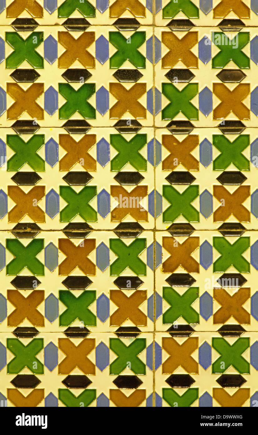 Spain - wall tiling in Mudejar style - Stock Image