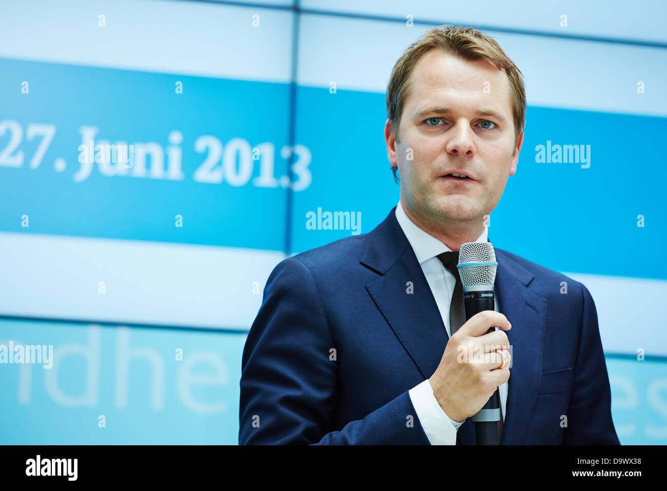 Berlin, germany. 27th June, 2013. Daniel Bahr (FDP), German Federal Minister of Health, gives a press conference - Stock Image