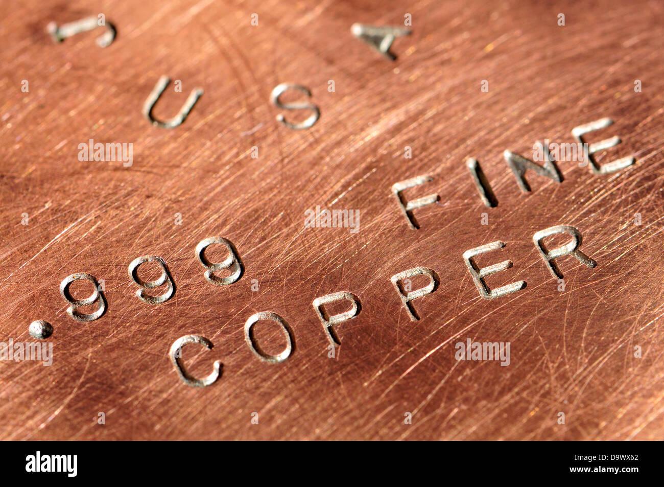 Copper bullion - 250g ingot of .999 purity - Stock Image