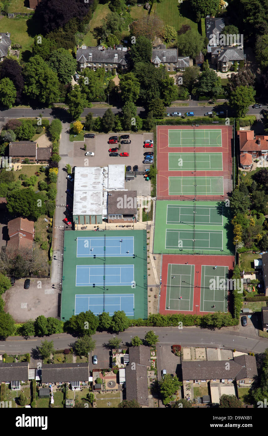 aerial view of tennis courts at  a private tennis club in Norwich - Stock Image