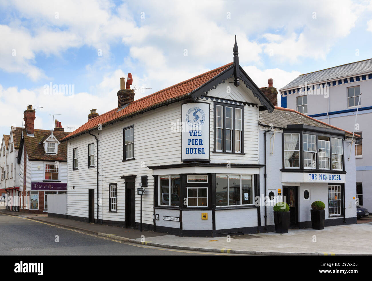 The Pier Hotel on corner of Kings Quay Street and The Quay in east coast town of Harwich, Essex, England, UK, Britain - Stock Image