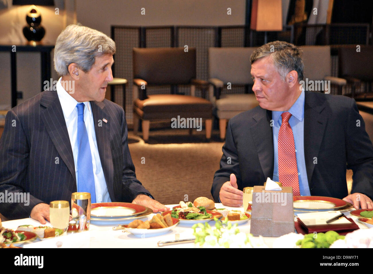US Secretary of State John Kerry during a working lunch with King Abdullah II of Jordan at Al-Hummar Palace June - Stock Image