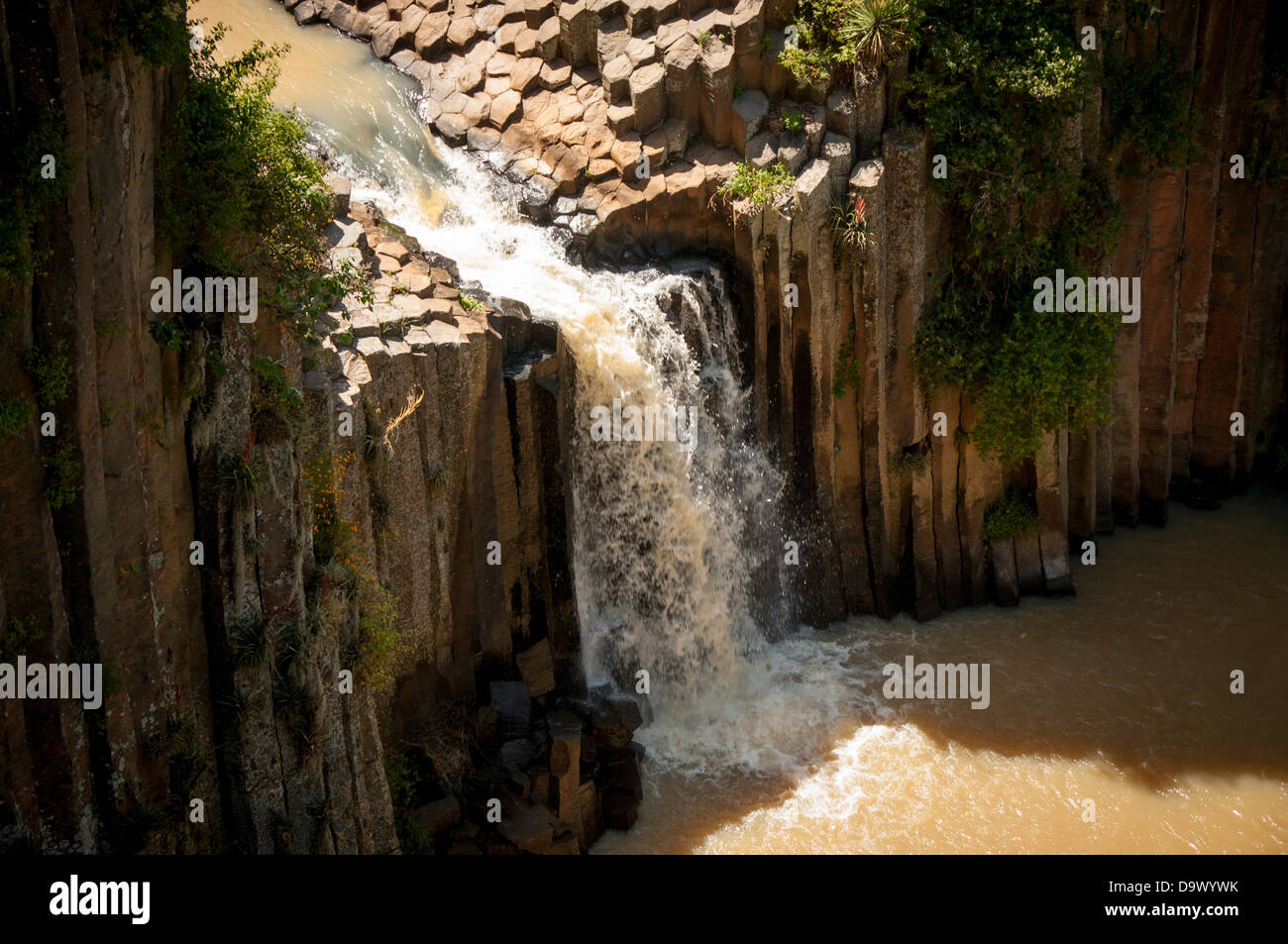 Waterfall surrounded by basalt prisms in Hidalgo, Mexico - Stock Image