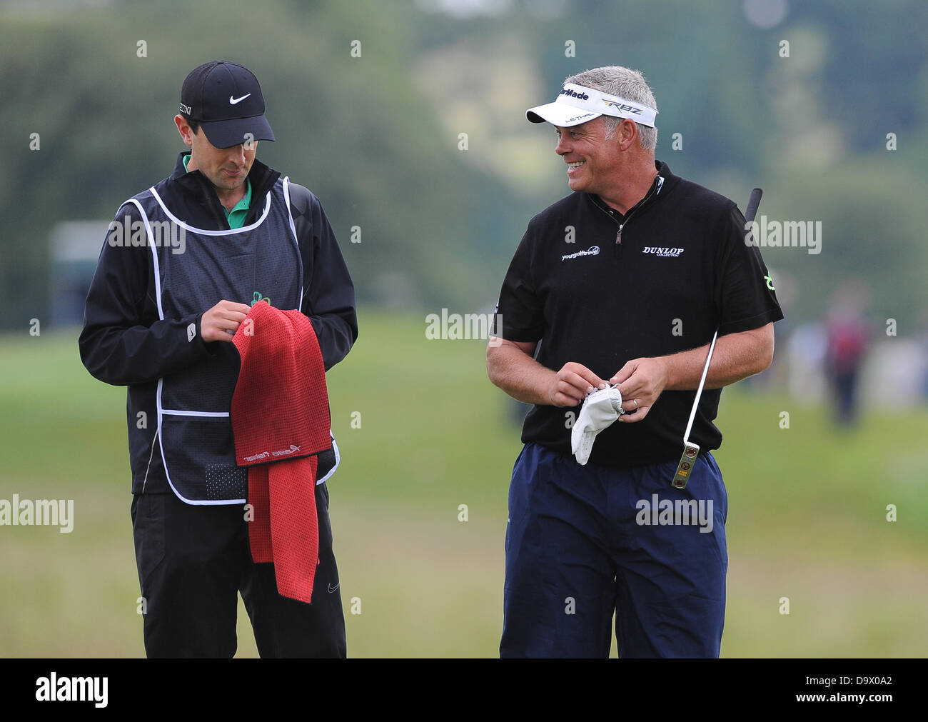 Maynooth, Ireland. 27th June 2013. Darren Clarke on the third hole during the first round of the Irish Open from - Stock Image