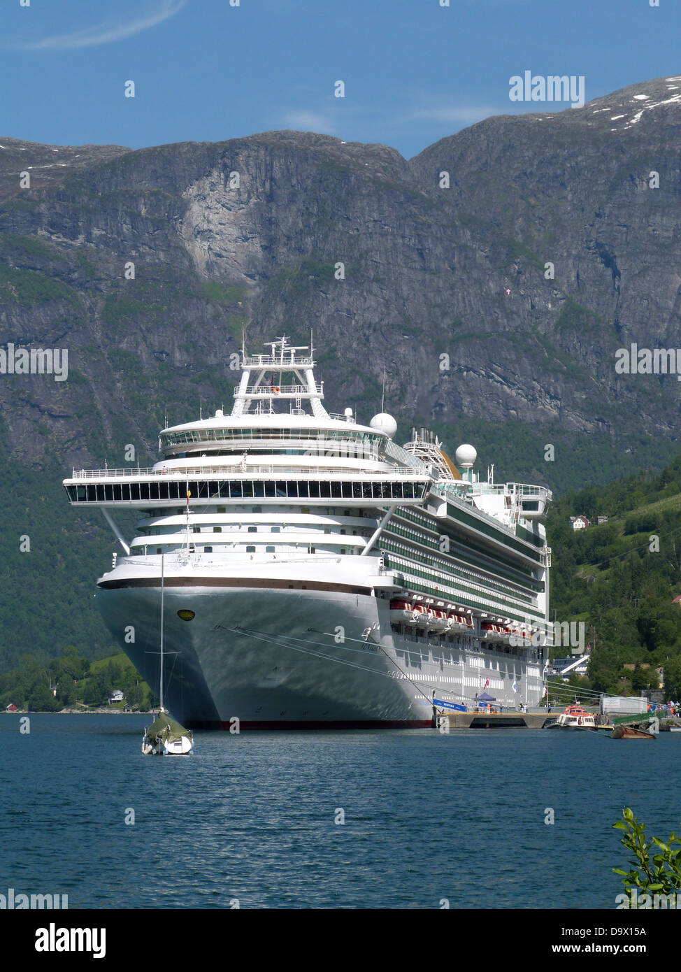 P&O Cruise ship Ventura at Berth in Olden, Norwegian Fjords 2013. - Stock Image