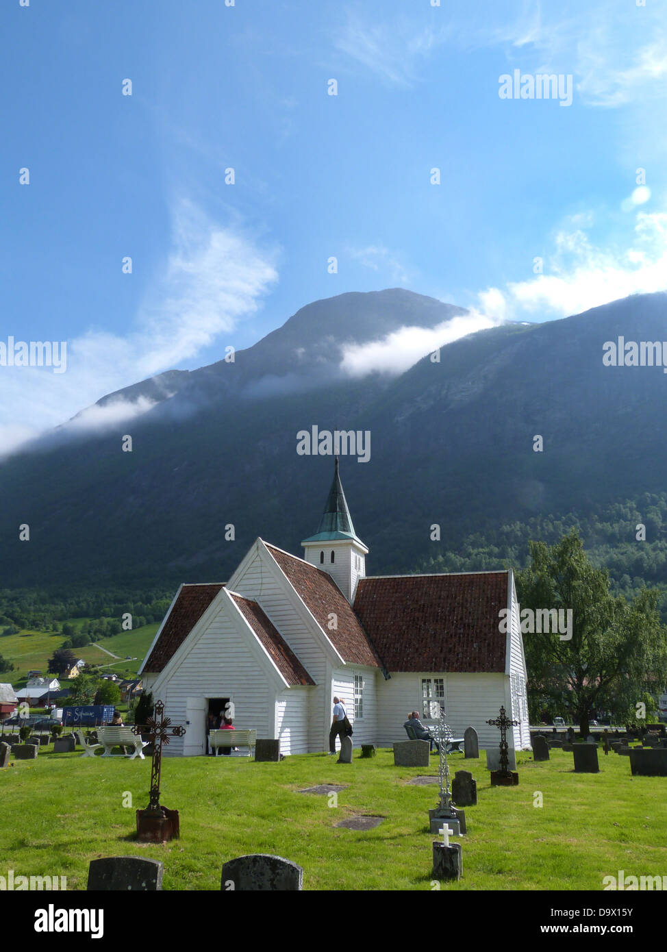 The old church in Olden, Norway. - Stock Image