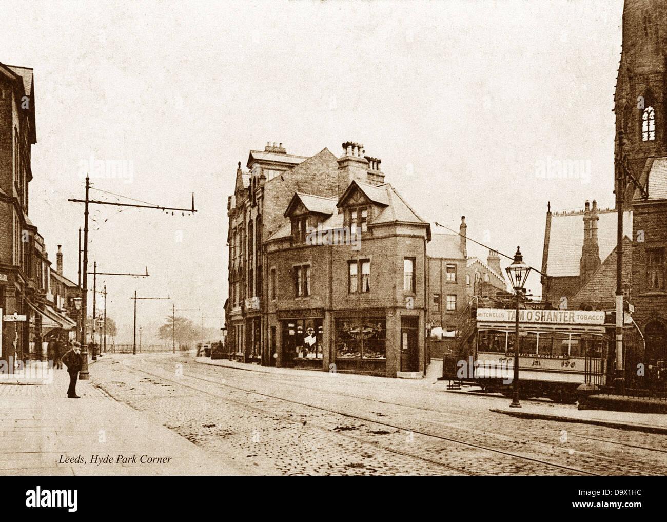 Leeds Hyde Park Corner early 1900s - Stock Image