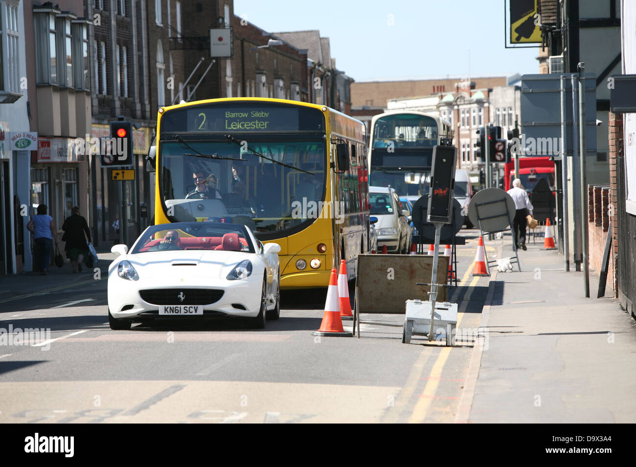 temporary traffic lights causing congestion in loughborough - Stock Image