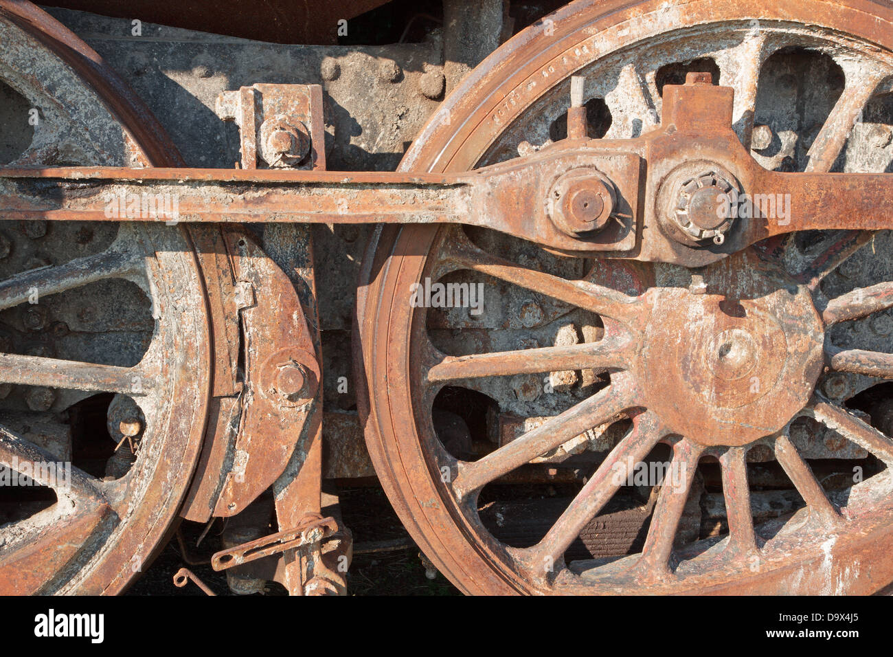 detail of driving rod mechanism in rust on old steam locomotive - Stock Image