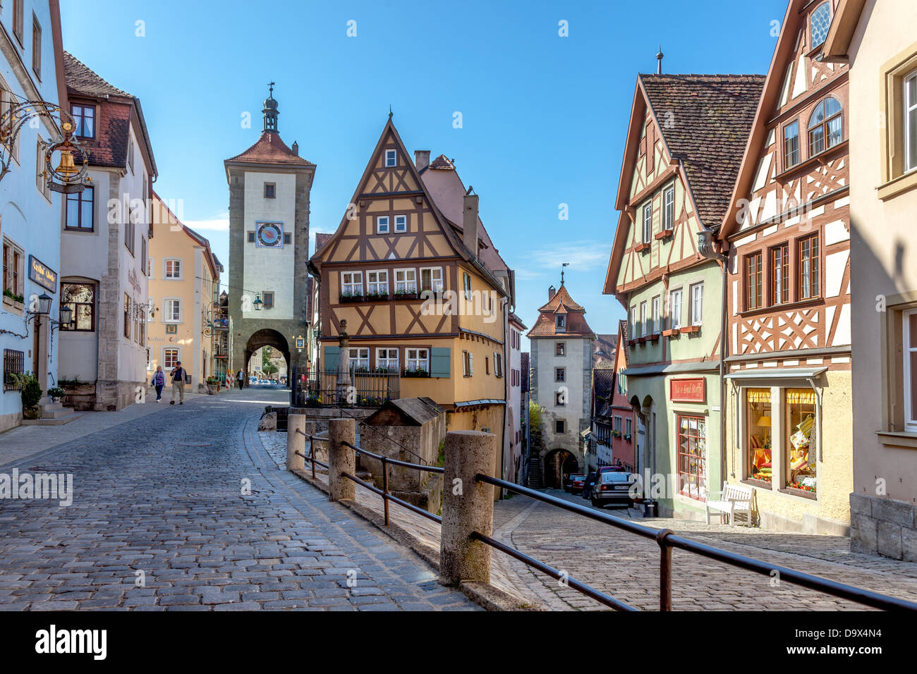 Traditional street view, Rothenburg ob der Tauber, Germany, Europe. - Stock Image