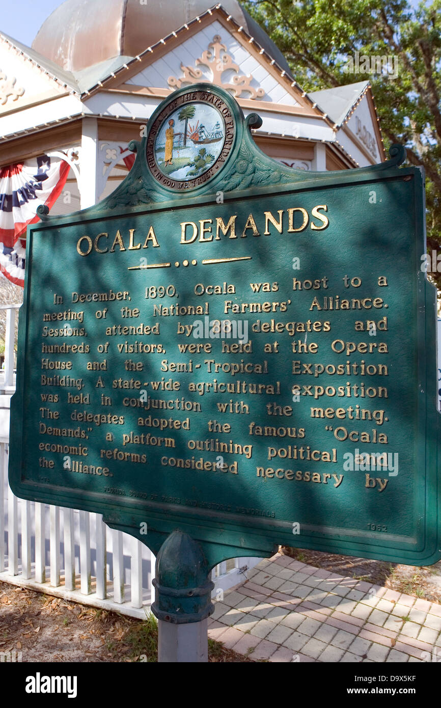 OCALA DEMANDS In December, 1890, Ocala was host to a meeting of the National Farmers' Alliance. Sessions, attended - Stock Image