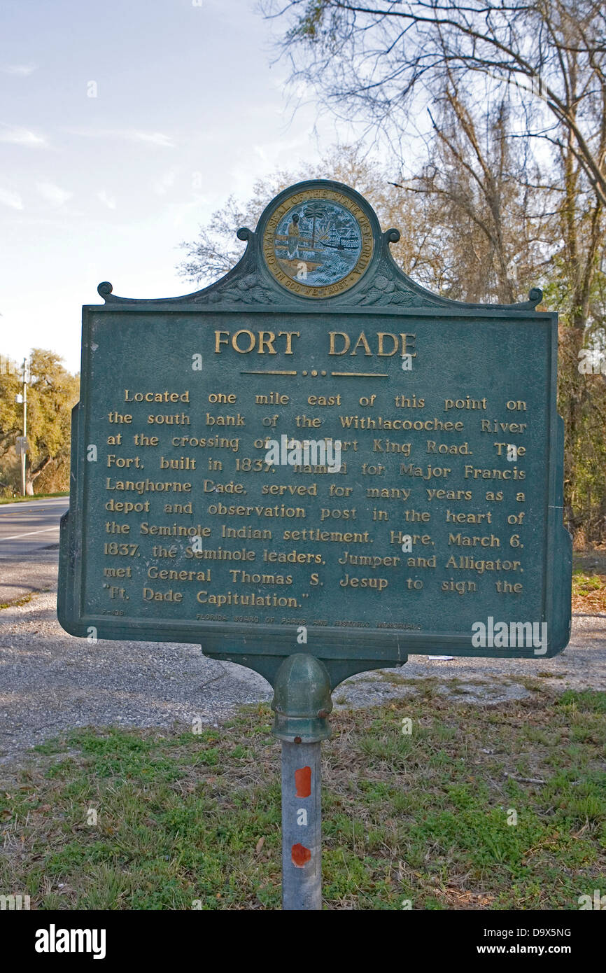 FORT DADE Located one mile east of this point on the south bank of the Withlacoochee River at the crossing of the - Stock Image