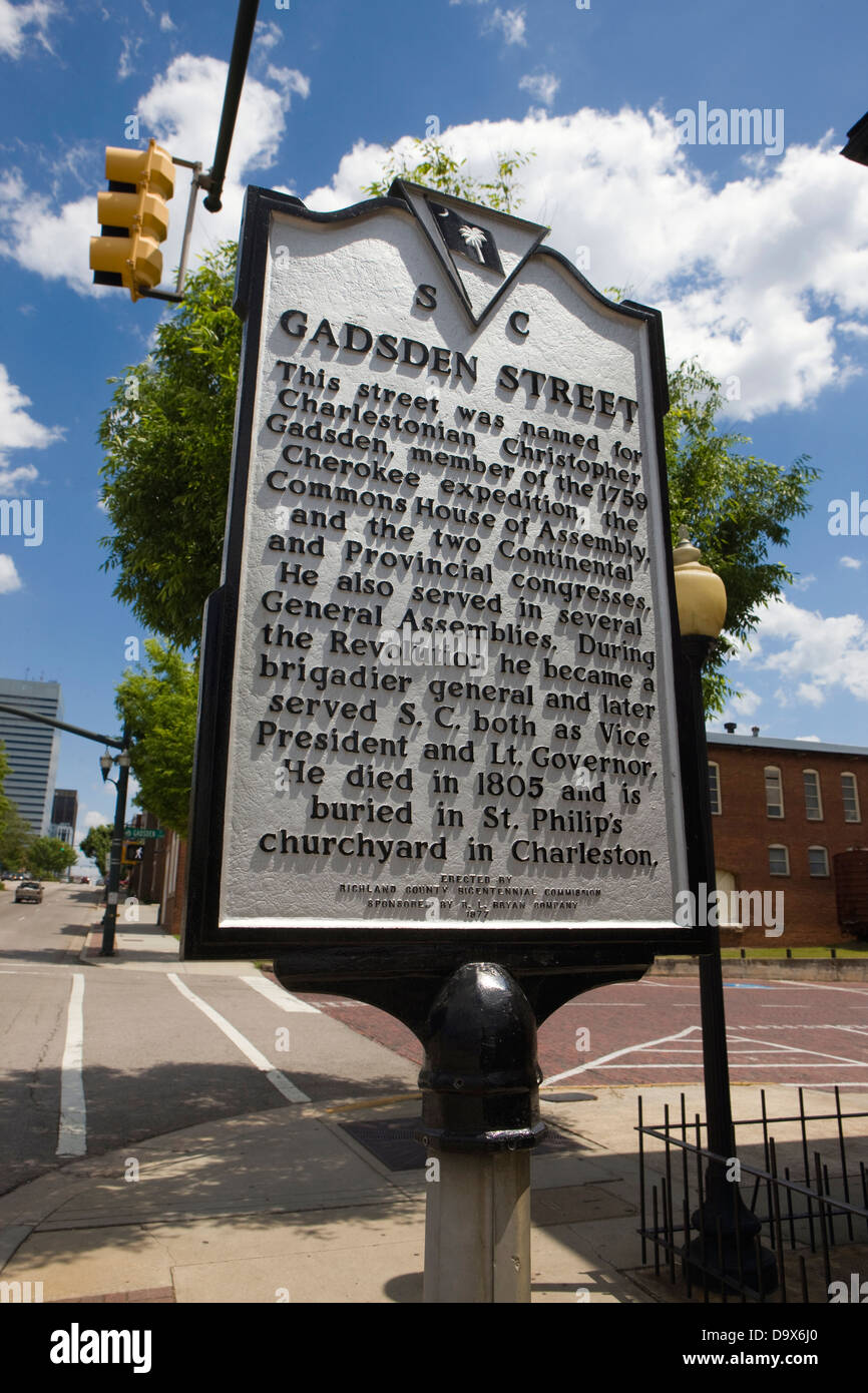 GADSDEN STREET This street was named for Charlestonian Christopher Gadsden, member of the 1759 Cherokee expedition, - Stock Image