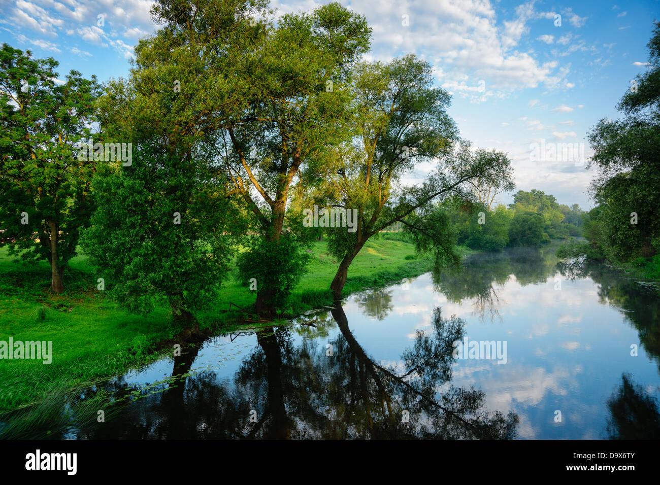 Summer landscape with river Mukhavets. The city of Brest. Belarus. - Stock Image