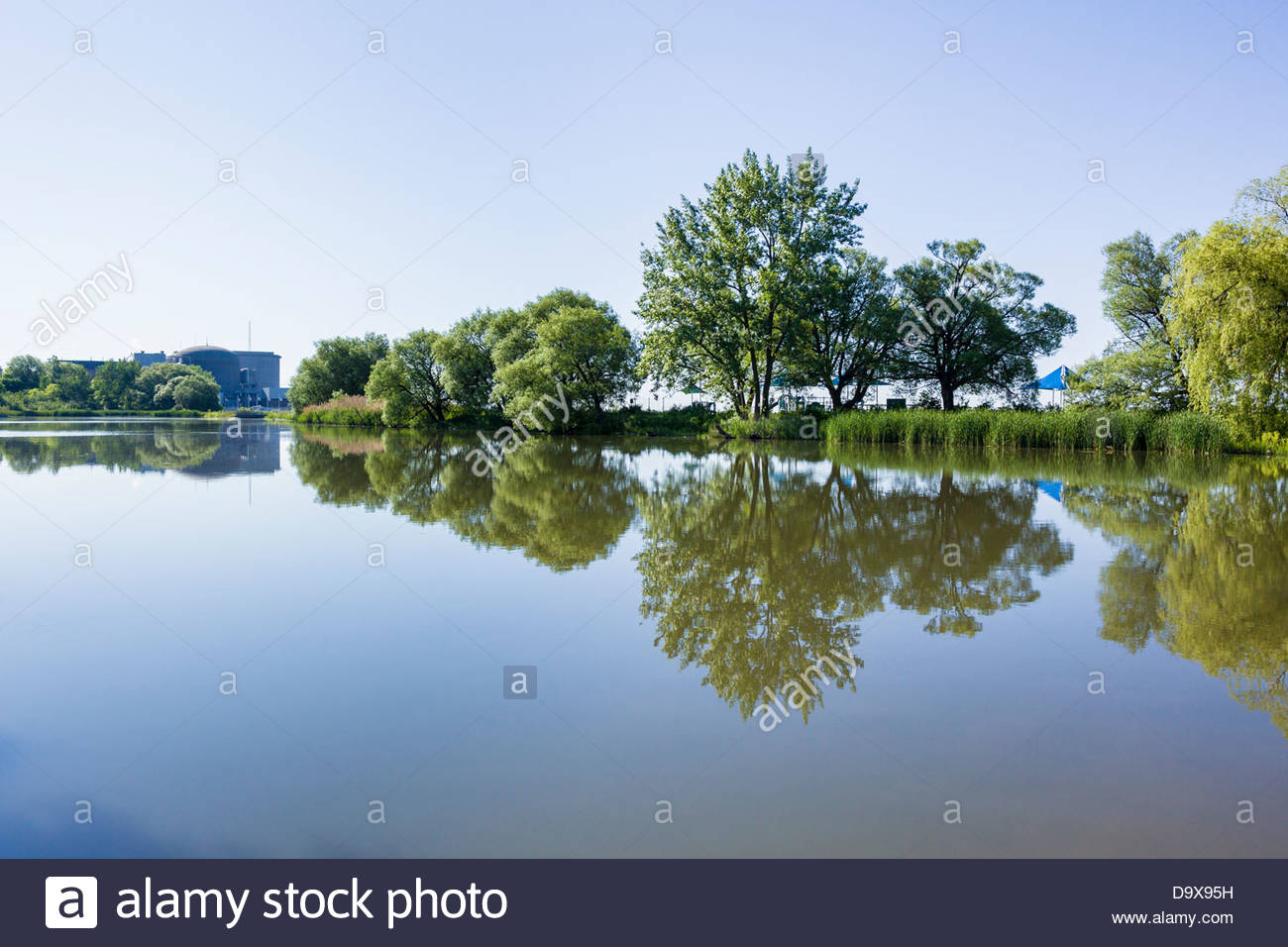 Lagoon behind CANDU nuclear reactor electric generating station in Pickering Ontario Canada - Stock Image