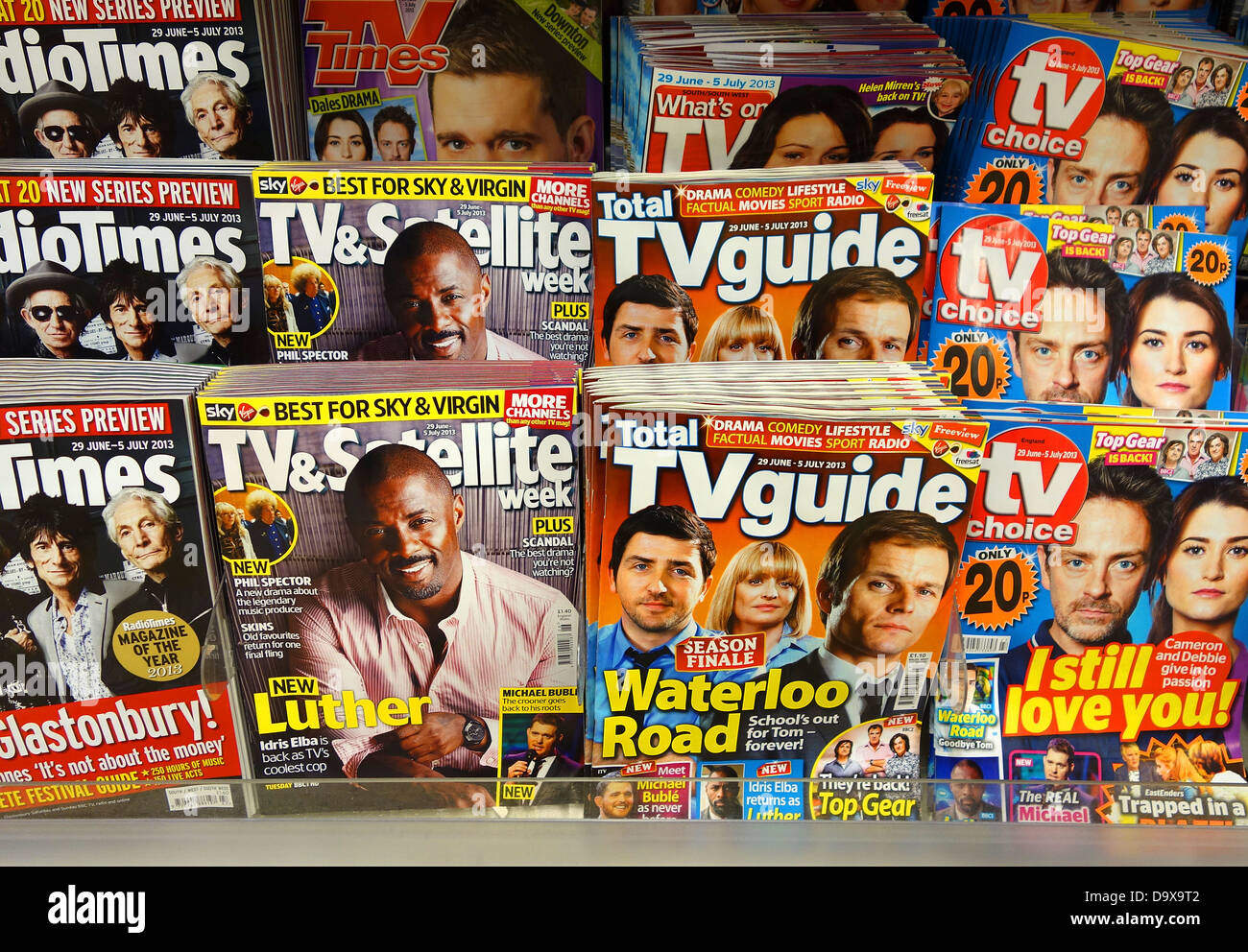 TV guides in a newsagents - Stock Image