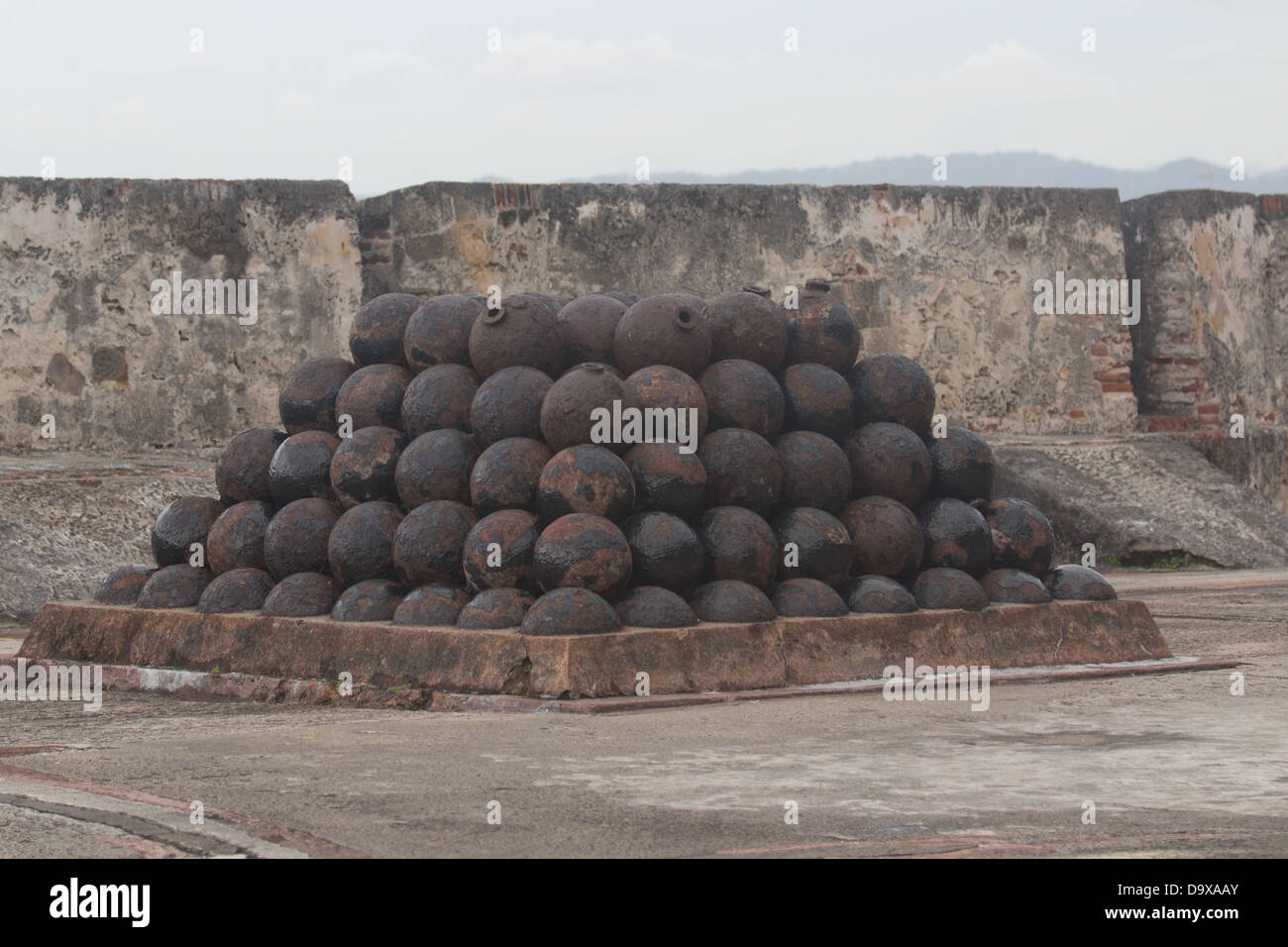 Old Cannon Balls San Juan Fort Stock Photo
