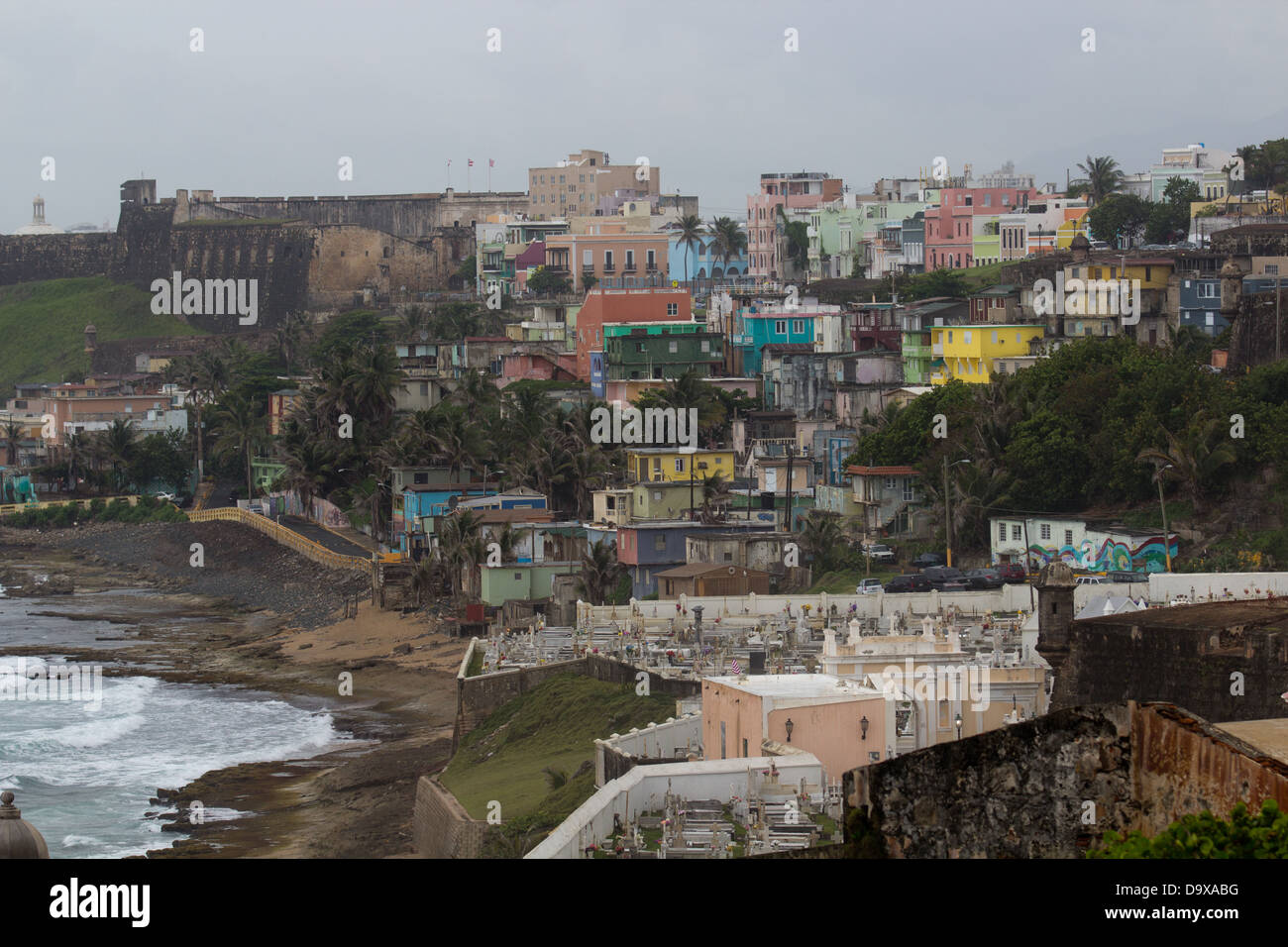 Colorful buildings on a hill Stock Photo
