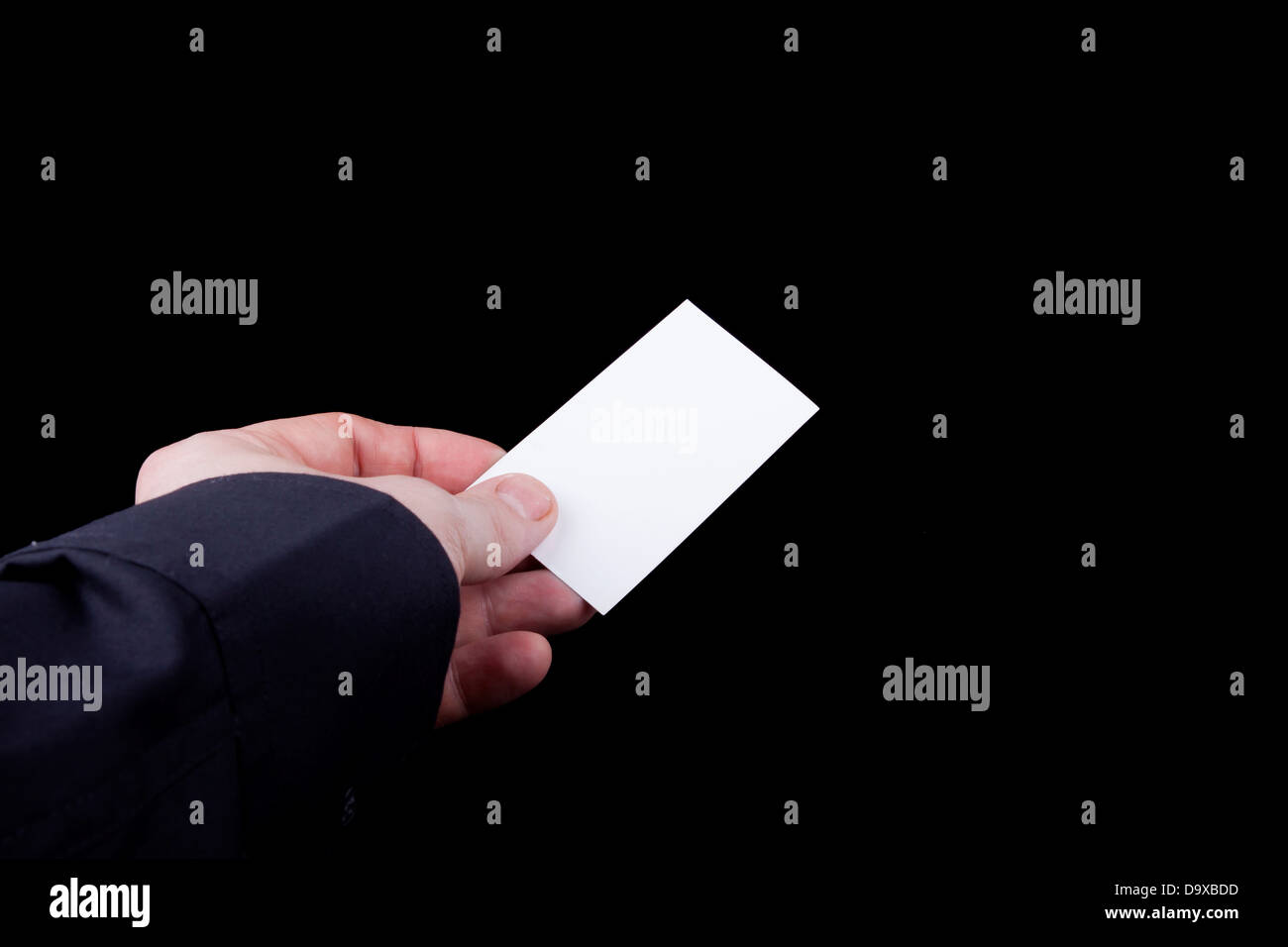 Man hand holding a blank business card Stock Photo: 57742761 - Alamy