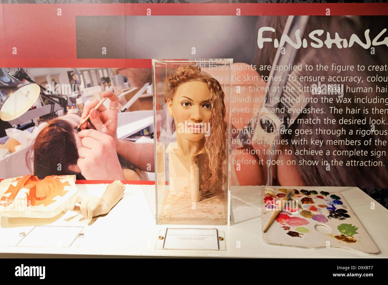 UK, England, London, Madame Tussauds, Exhibit of the Waxwork Making of the Popstar Beyonce's Head - Stock Image