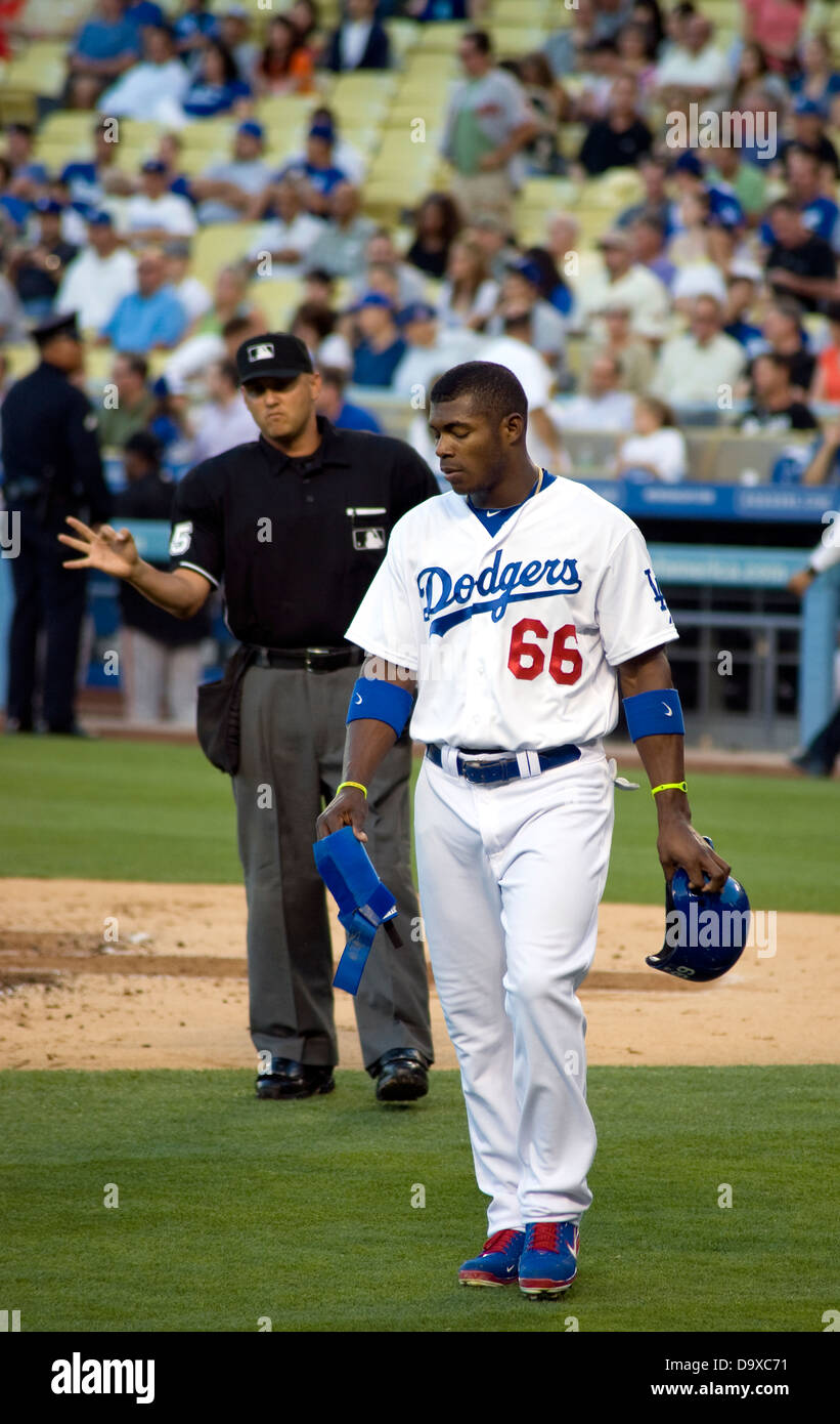 Yasiel Puig of the Los Angeles Dodgers - Stock Image
