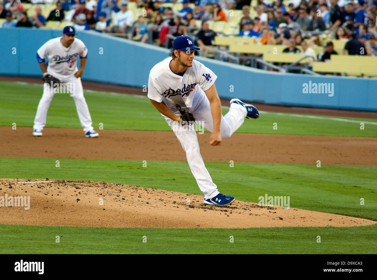 Los Angeles Dodgers pitcher Clayton Kershaw in game at Dodger Stadium - Stock Image
