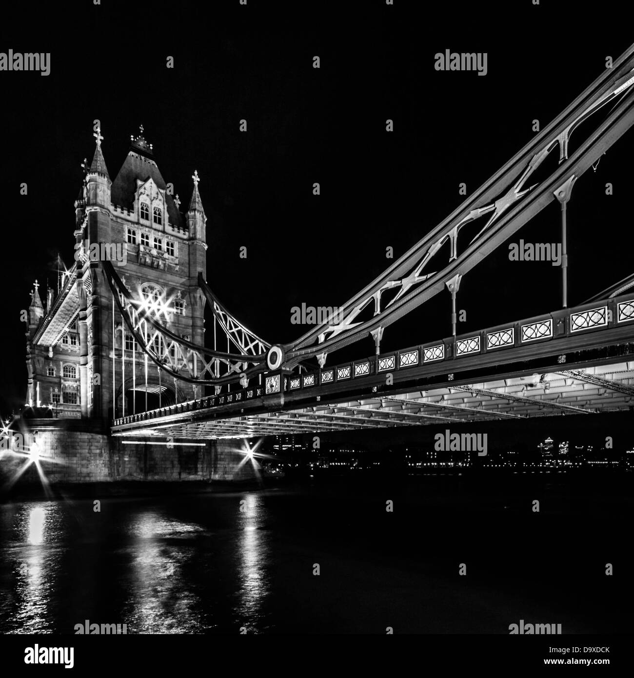 Tower Bridge (in black and white) by night, London, UK - Stock Image