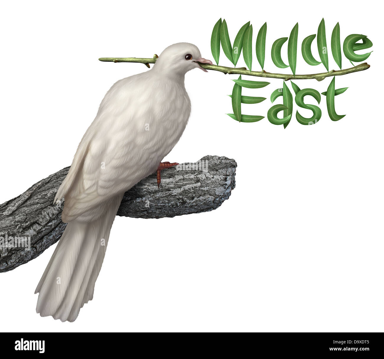 Middle East peace plan and diplomacy concept with a white dove holding an olive branch with the leaves in the shape - Stock Image