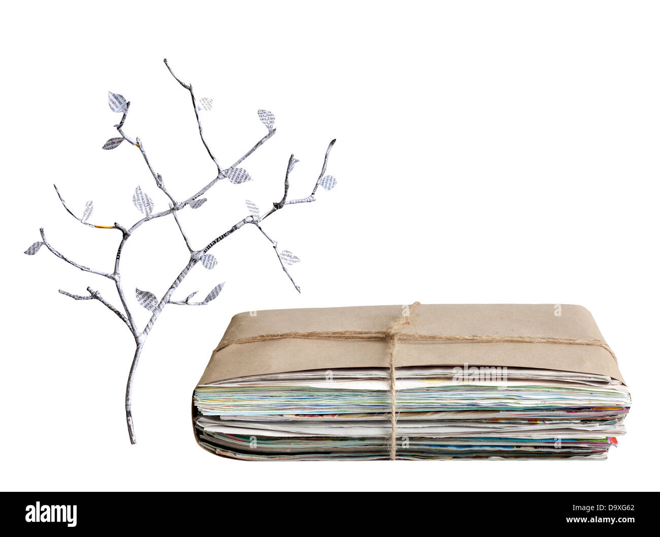 Wastepaper tree pile of newspapers isolated recycling concept - Stock Image