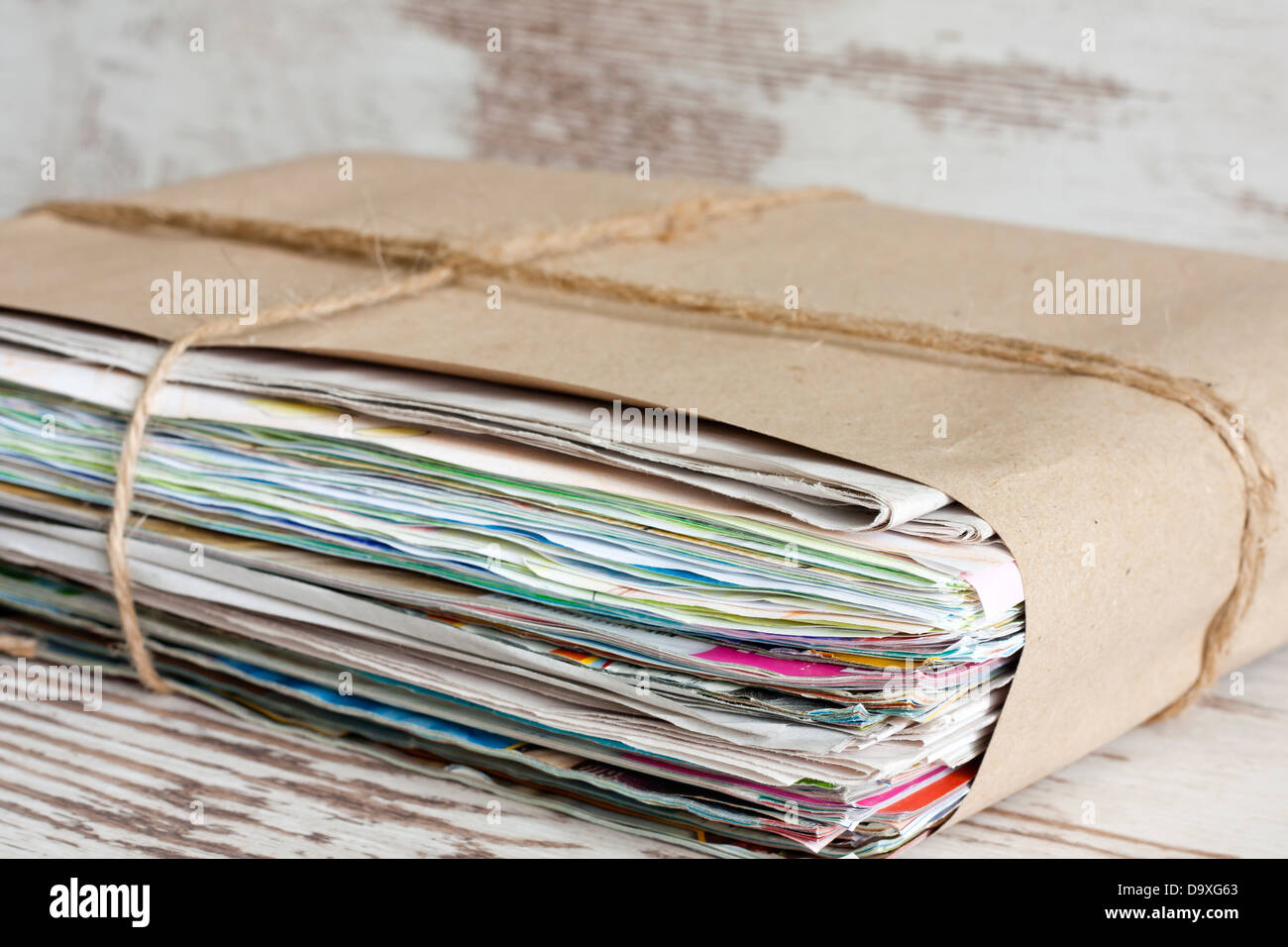 Wastepaper pile of newspapers closeup - Stock Image
