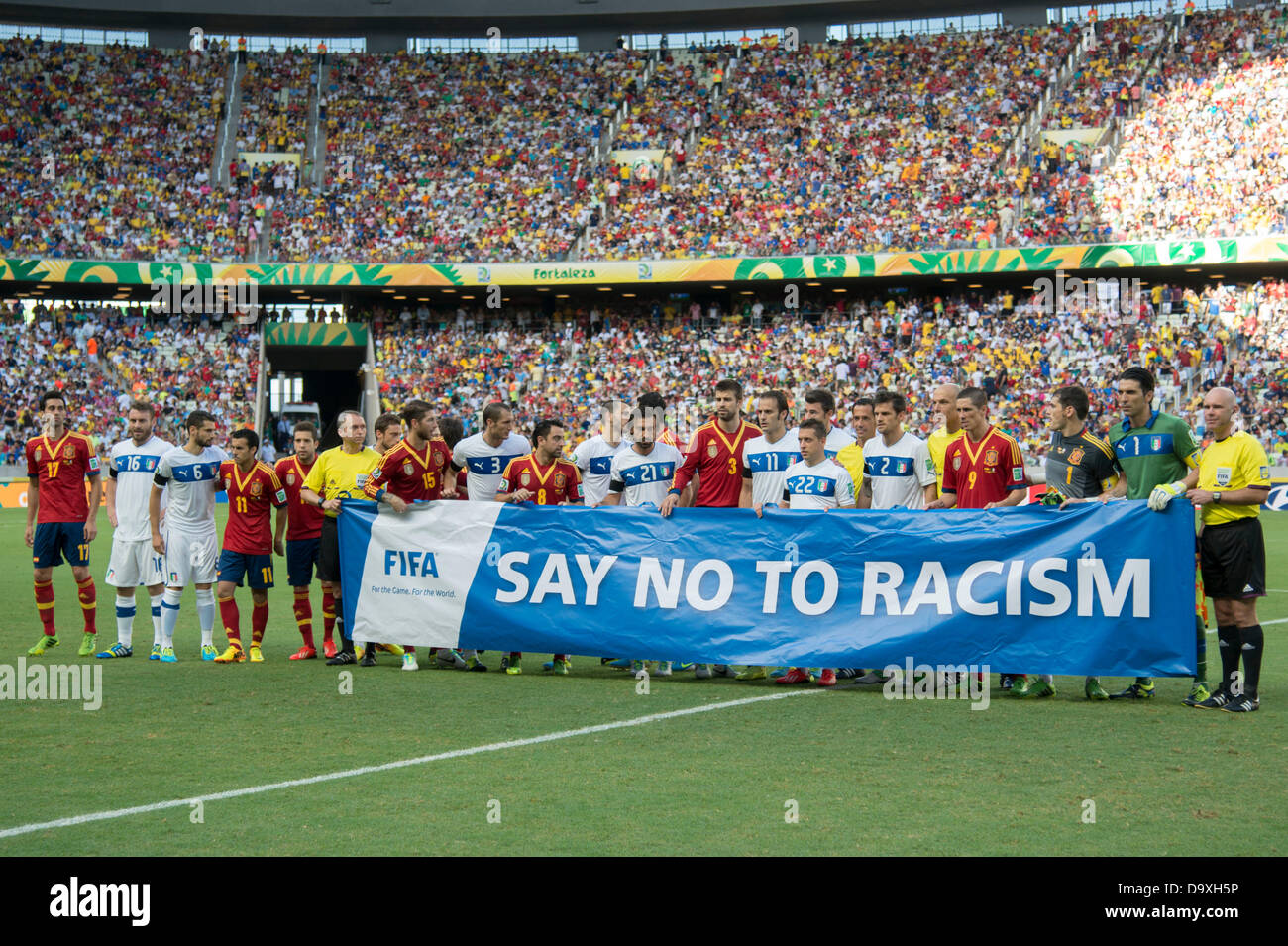 Two team group, JUNE 27, 2013 - Football / Soccer : Two team players with a banner 'Say No To Racism' before - Stock Image
