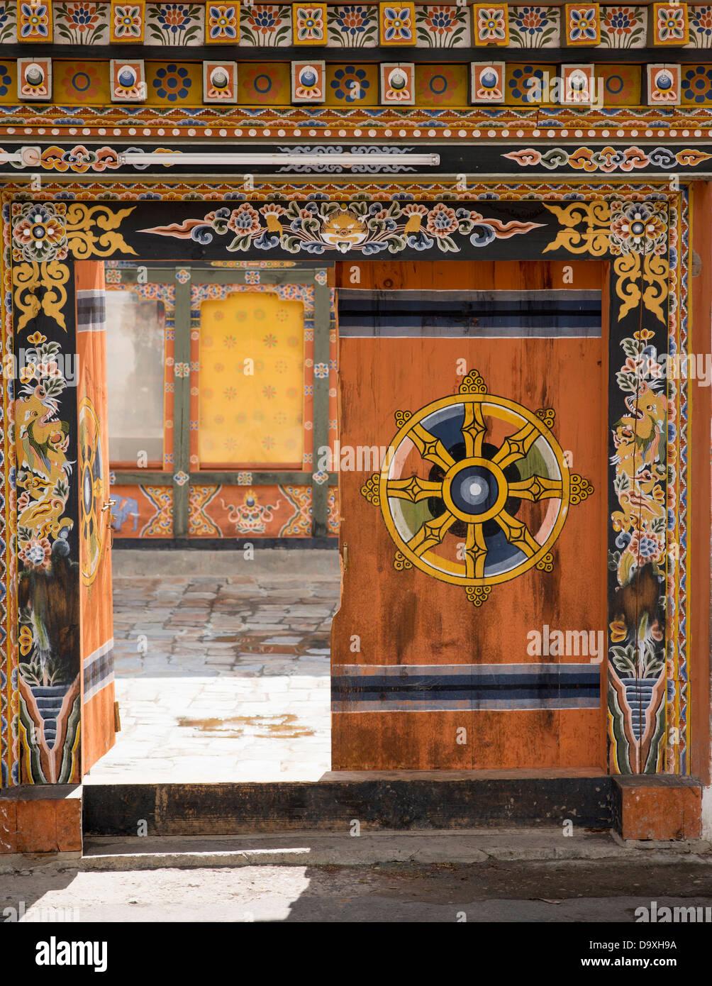 Bhutan, Gate of Lamey Goemba Palace - Stock Image