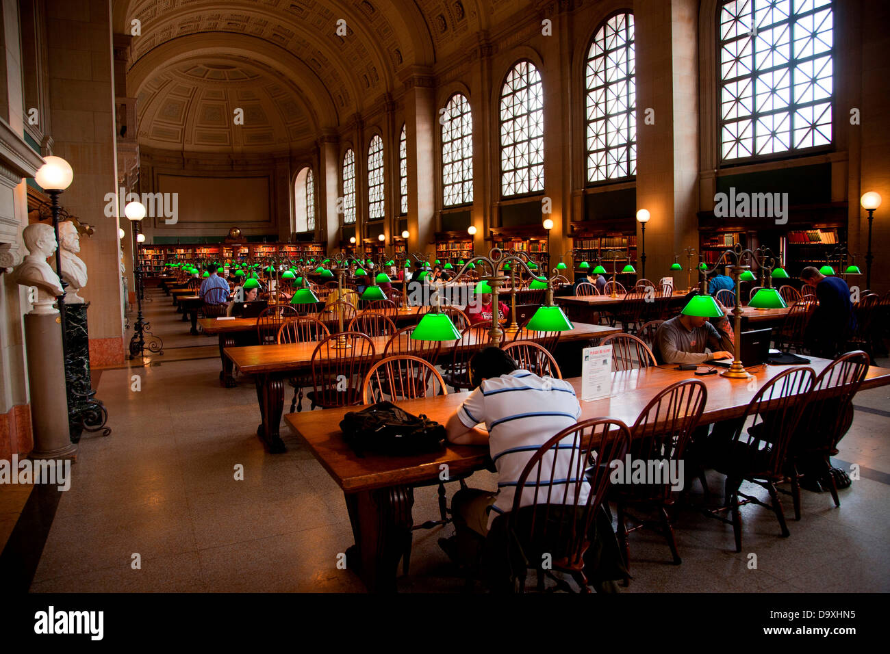 Interior View Of Reading Area Of Historic Boston Public Library, McKim  Building, Boston,